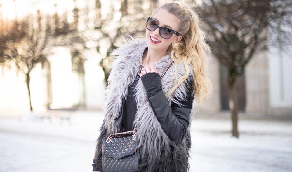 poilei stiefletten fake fur weste otto rebecca minkoff tasche, fashionblog münchen