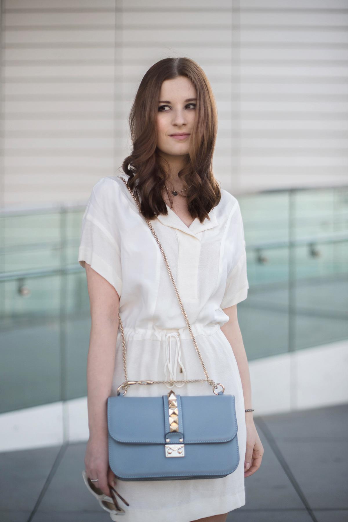 Glam lock bag blue g12 medium rockstud zara kleid fashionblog münchen