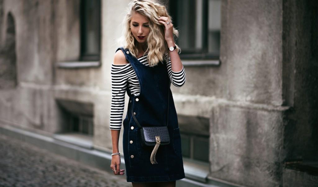 aigner carrie latzkleid off shoulder gestreift fashion blog münchen