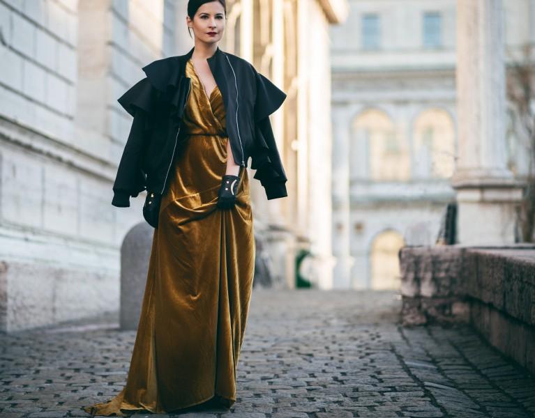 samt kleid Senf gelb silvester oufit fashion blog münchen