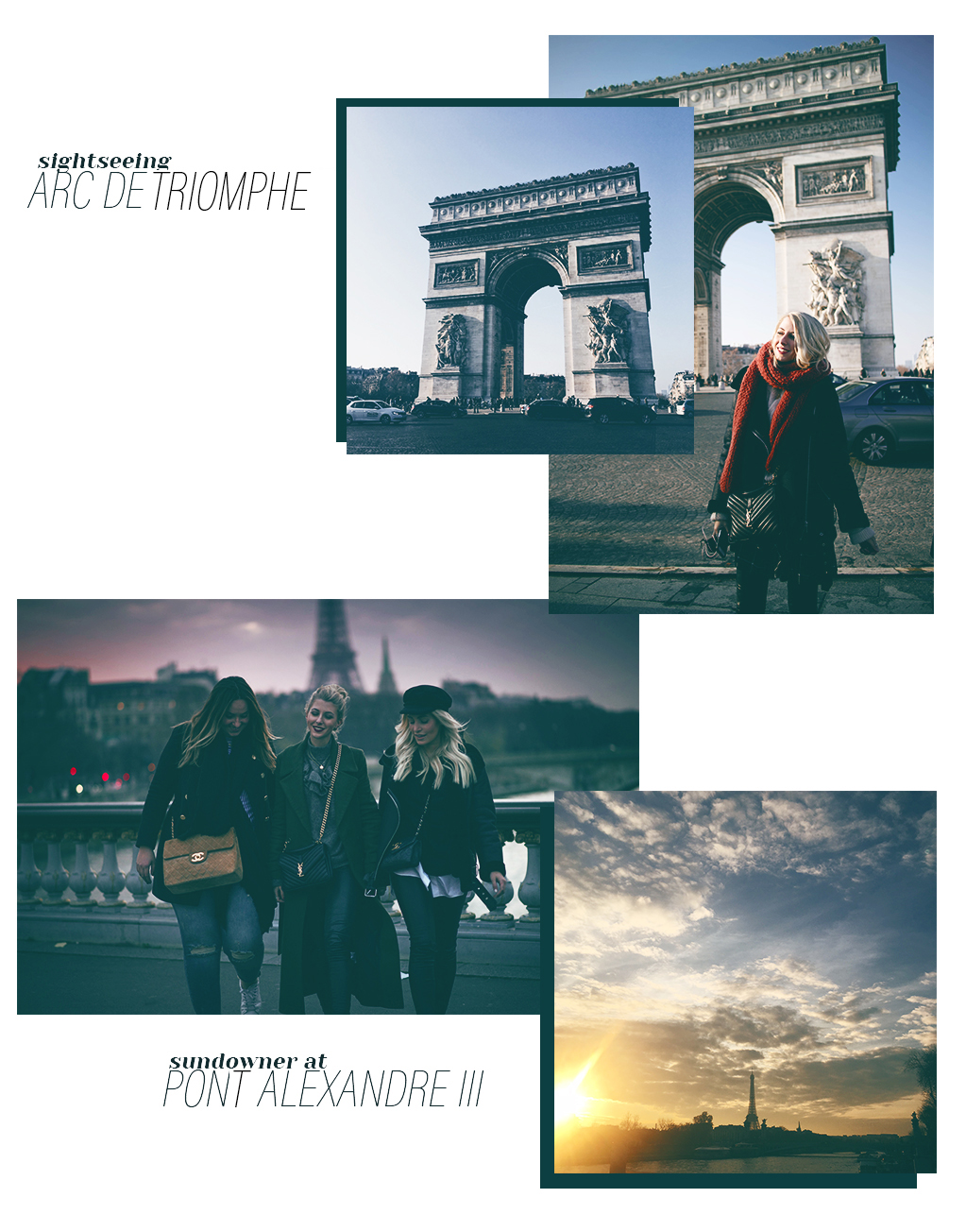 Sightseeing Paris Arc de triomphe Pont Alexandre III Sonnenuntergang Hot Spots Travel Blogger Paris Tipps