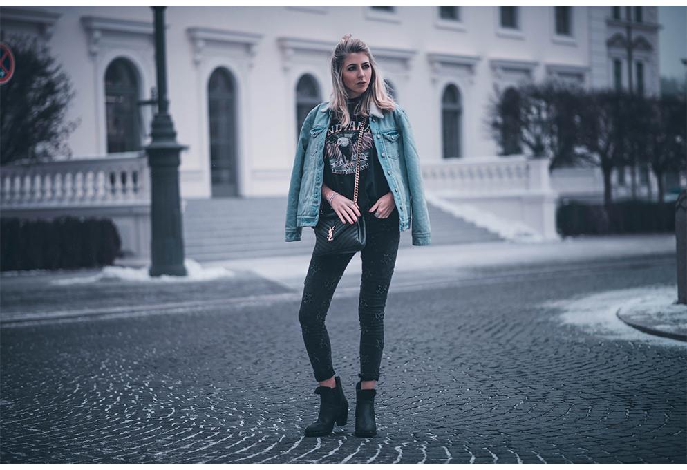 jeansjacke bandshirt sternchen hose fashion blog münchen