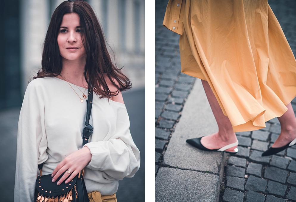 outfit rock Hemdsärmel bluse gewickelt one shoulder pullover chloe hudson fashion blog münchen