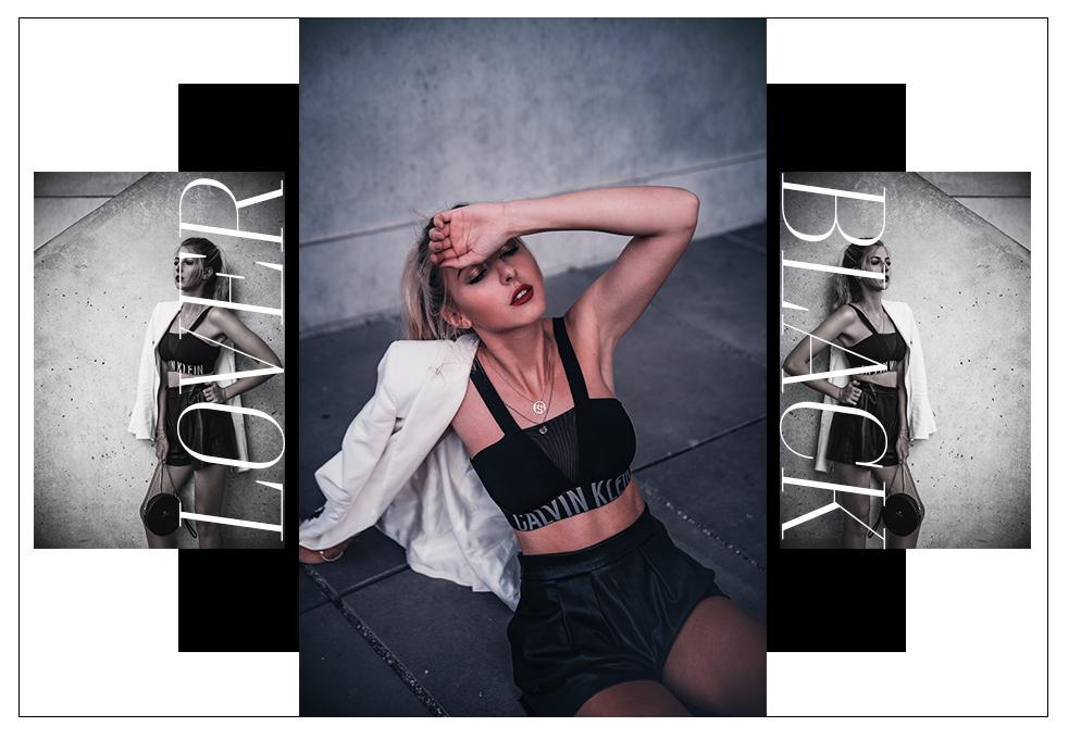 outfit schwarz weiß blauer calvin klein top fashion blog münchen