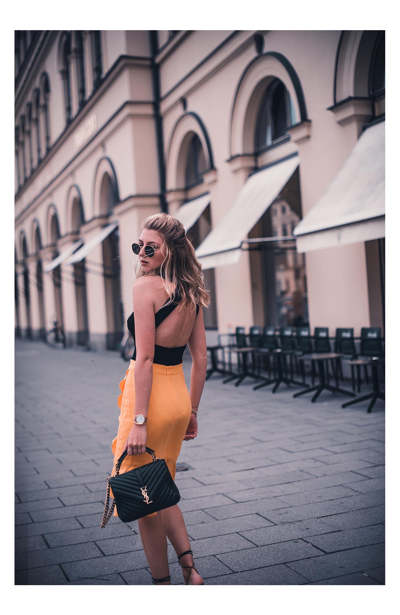 gelber rock mango rüschen fashion blog münchen