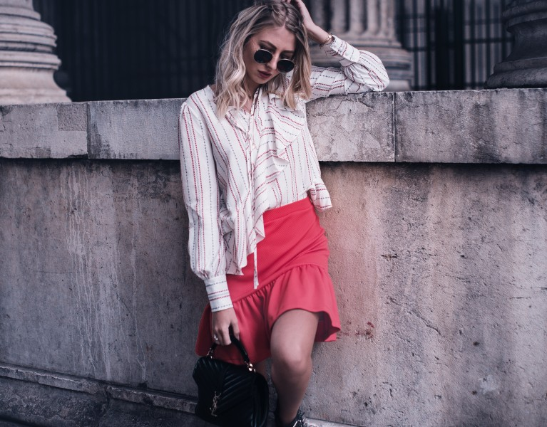 outfit roter peplum rock bluse Alltag fashion blog münchen