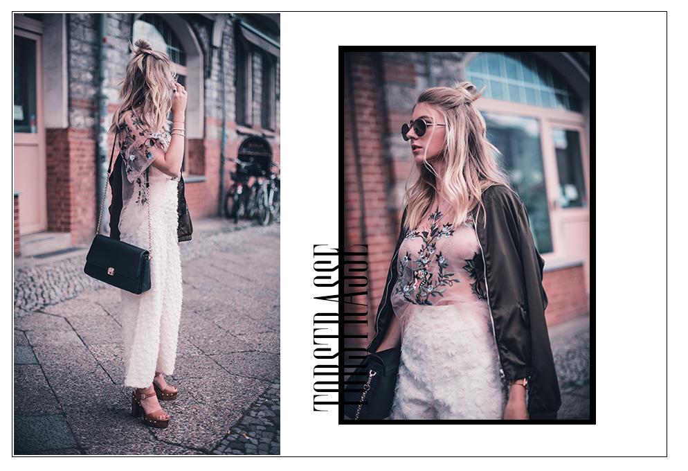 outfit besticktes Oberteil grüne Bomberjacke torstraße Berlin fashionweek