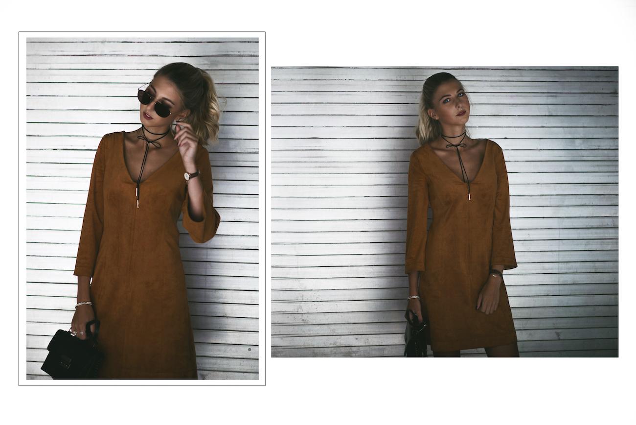drykorn wildleder kleid choker fashion blog münchen
